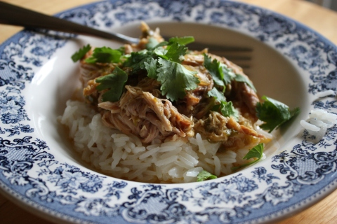 spicy green chile pork with rice