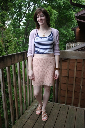 pink lace skirt, blue & white striped top, cardigan, sandals