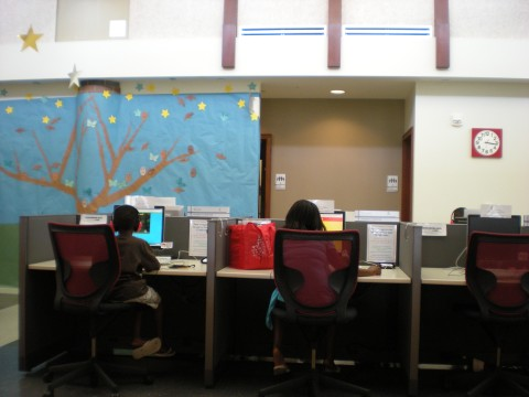 patrons at computers