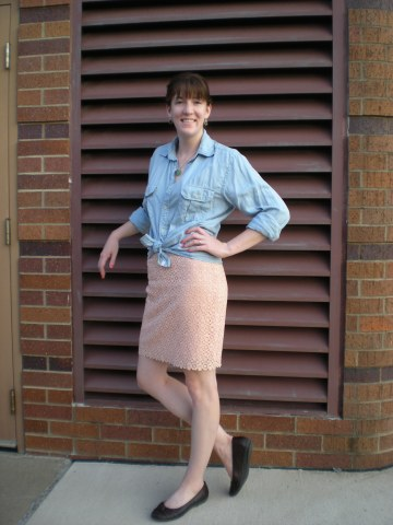 lace skirt and knotted chambray shirt with flats