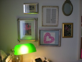 Molly's heart art hanging