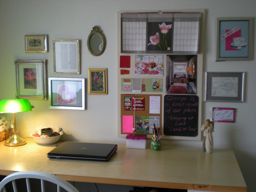 gallery wall above desk