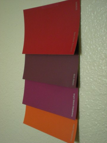 4 paint sample cards