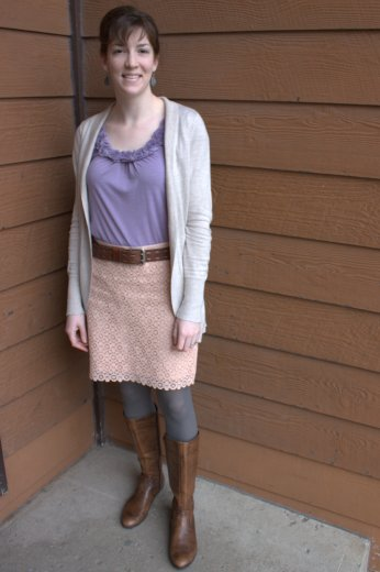 pink lace skirt, lavender rosette top, brown belt & boots, tan cardigan