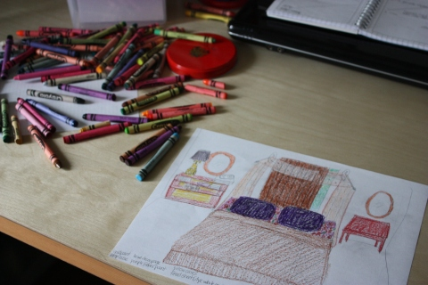 drawing and crayons