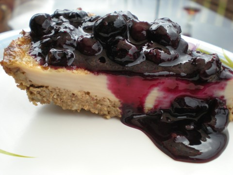gluten&lactose free custard pie with blueberry sauce