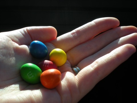 handful of M&Ms...every color except brown, by chance