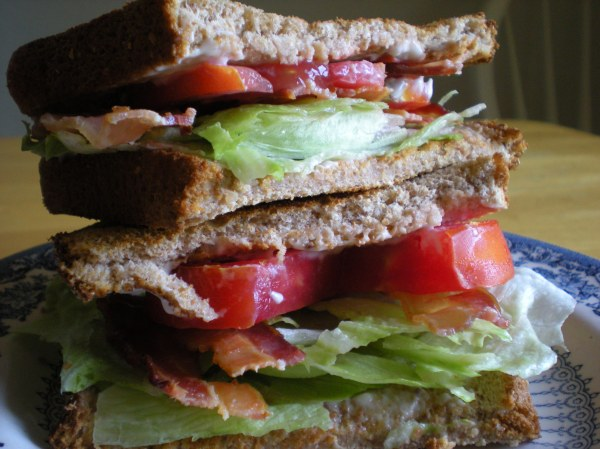 bacon, lettuce, and tomato sandwich on wheat bread