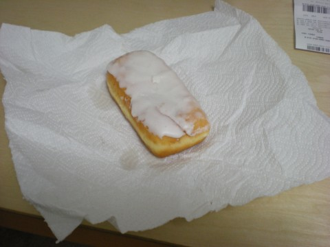 donut on a paper towel