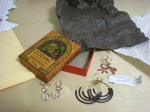incense box, earrings, tissue paper