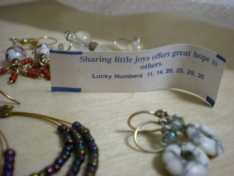 earrings with fortune cookie message