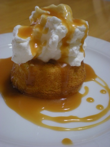 yellow cupcake, whipped cream & creme caramel