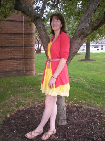 yellow dress, coral cardigan, striped belt