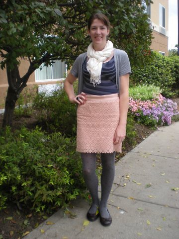 lace skirt, navy stripe shirt, gray tights & cardigan