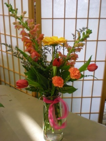 tall vase with tulips, snapdragons, Gerbera daisies