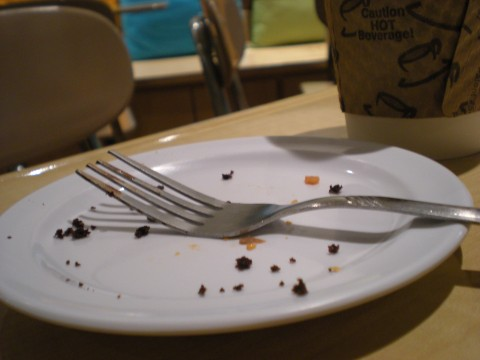 white plate with crumbs and a fork