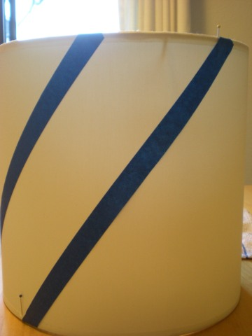 painter's tape in parallel lines on narrow drum shade