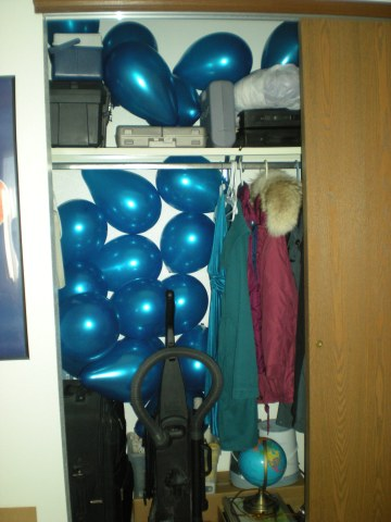 closet full of balloons