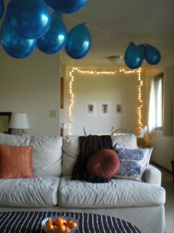 balloons in living room, lights in dining room