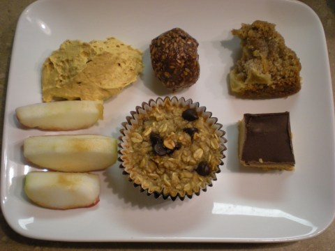 dessert dinner: apple slices, pumpkin dip, oatmeal banana-chocolate muffin, apple bread, chocolate treats