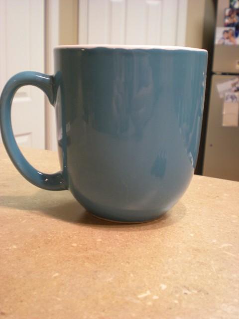 plain blue mug