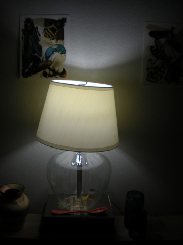 lamp assembled with cock-eyed shade