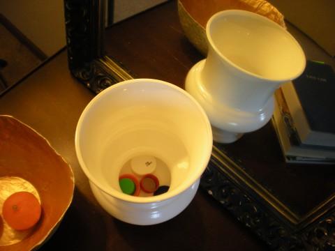 bottlecaps in vase