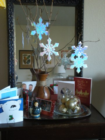 table & mirror with snowflake branch & Christmas cards