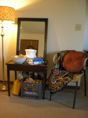 lamp, table, mirror, chair