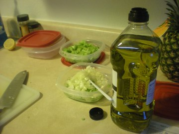 17--olive oil in celery salad, onions in chk salad