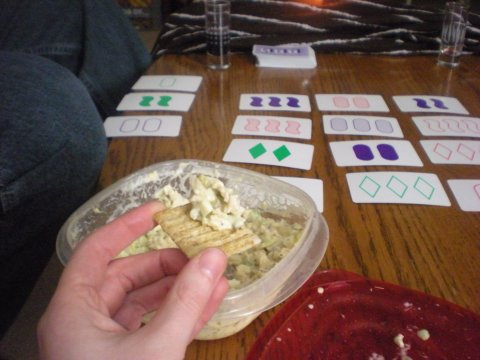 chicken salad on crackers, and Set (Valentine's night)