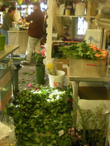 rose leaves on the flower shop floor