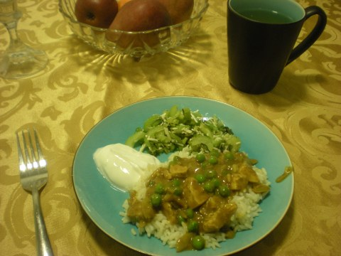 chicken curry with peas, Greek yogurt, and celery salad