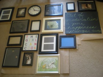 kitchen gallery wall template creation on the living room floor