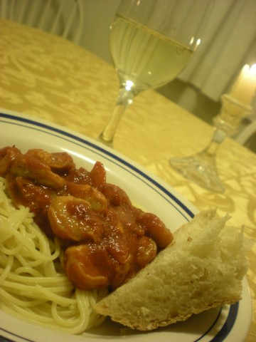 shrimp fra diavolo on pasta