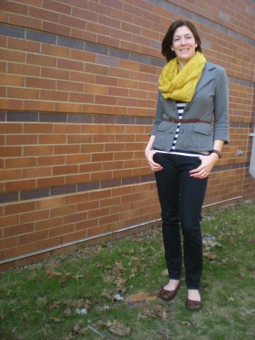 {double take} mustard scarf, striped shirt, and leather accents