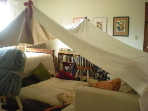 bedsheet tent in the living room