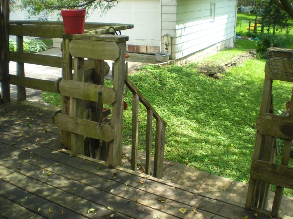 back yard, garage, deck