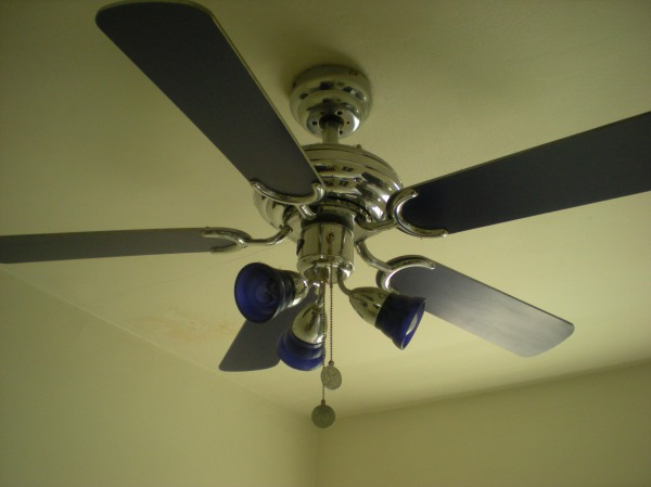blue ceiling fan